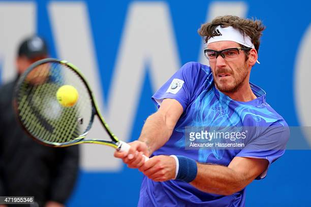 Gerald Melzer of Austria plays a back hand during his semi finale match against Philipp Kohlschreiber of Germany of the BMW Open at Iphitos tennis...