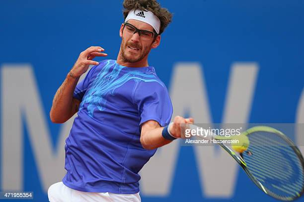 Gerald Melzer of Austria plays a fore hand during his semi finale match against Philipp Kohlschreiber of Germany of the BMW Open at Iphitos tennis...