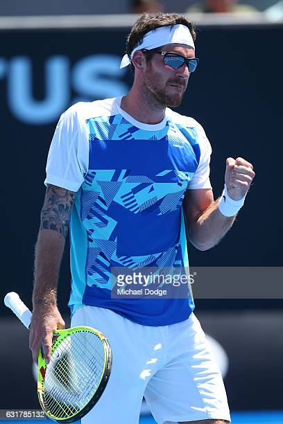 Gerald Melzer of Austria reacts in his first round match against Alex De Minaur of Australia on day one of the 2017 Australian Open at Melbourne Park...