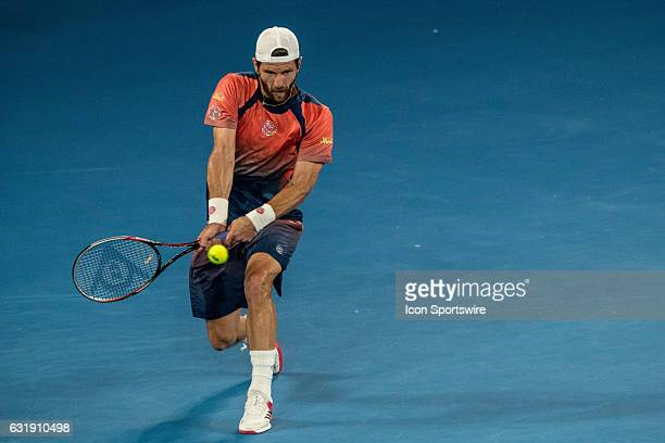 Gerald Melzer of Austria returns the ball during the first round of the 2017 Australian Open on January 16 at Melbourne Park Tennis Centre in...