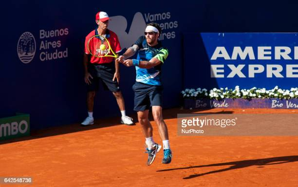 Gerald Melzer of Austria returns the ball to Alexandr Dolgopolov of Ukraine during a tennis match of the ATP Argentina Open in Buenos Aires Argentina...