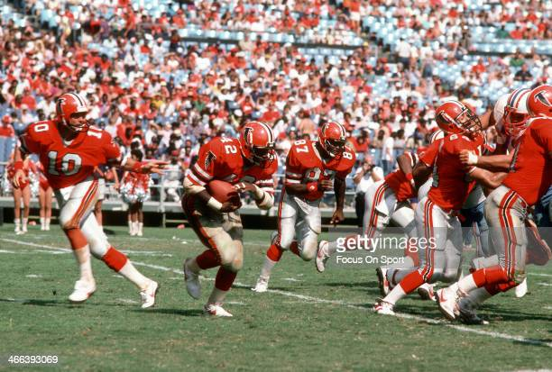 Gerald Riggs of the Atlanta Falcons carries the ball against the Houston Oilers during an NFL football game September 23 1984 at AtlantaFulton County...