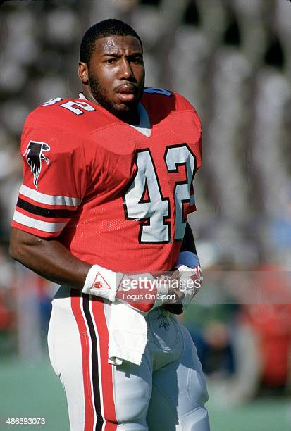 Gerald Riggs of the Atlanta Falcons looks on from the sidelines during an NFL football game circa 1984 at AtlantaFulton County Stadium in Atlanta...