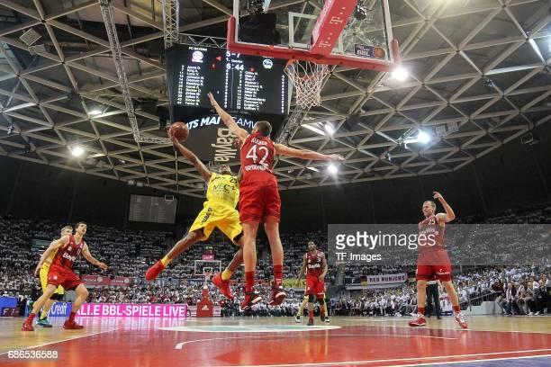 Gerald Robinson of Berlin und Anton Gavel of Munich battle for the ball during the easyCredit BBL Basketball Bundesliga match between FC Bayern...
