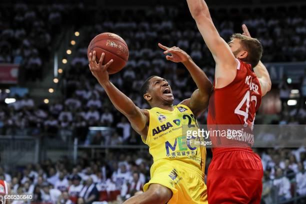 Gerald Robinson of Berlin und Maximilian Kleber of Munich battle for the ball during the easyCredit BBL Basketball Bundesliga match between FC Bayern...