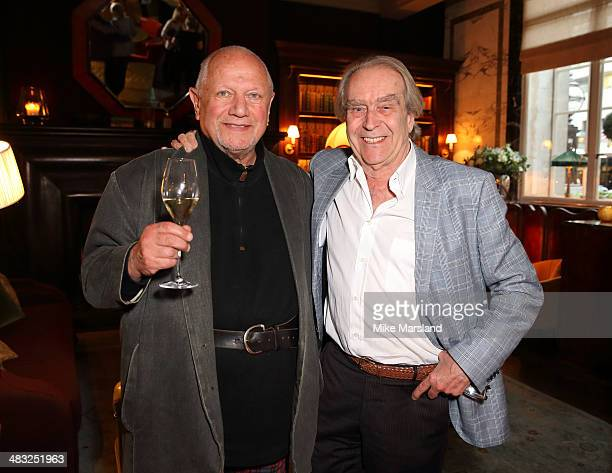 Gerald Scarfe and Steven Berkoff attend the reveal of Gerald Scarfe's exclusive artwork at Scarfes Bar Rosewood London on April 7 2014 in London...