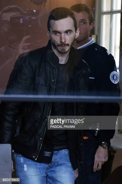Gerald Seureau accused of the rape and murder of 17yearold Lea in 2011 arrives for his appeal trial in the courthouse of Carcassonne southern France...