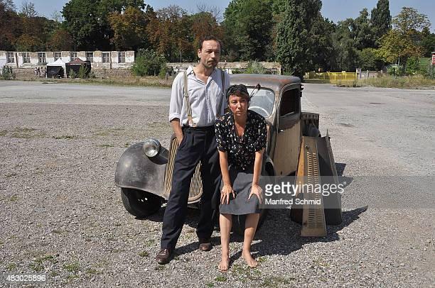 Gerald Votava and Ursula Strauss pose at 'Maikaefer Flieg' set visit on August 5 2015 in Vienna Austria