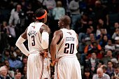 Gerald Wallace and Raymond Felton of the Charlotte Bobcats talk on the court during the game against the Los Angeles Lakers on March 5 2010 at the...