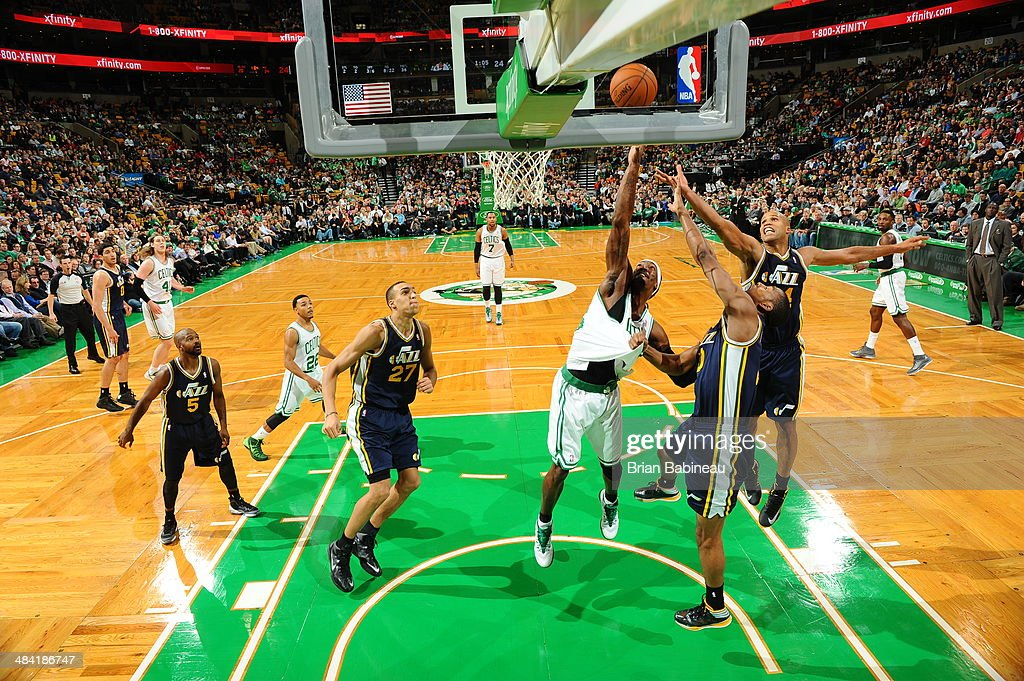 <a gi-track='captionPersonalityLinkClicked' href=/galleries/search?phrase=Gerald+Wallace&family=editorial&specificpeople=202117 ng-click='$event.stopPropagation()'>Gerald Wallace</a> #45 of the Boston Celtics attempts to rebound the ball during the game against the Utah Jazz on November 6, 2013 at the TD Garden in Boston, Massachusetts.