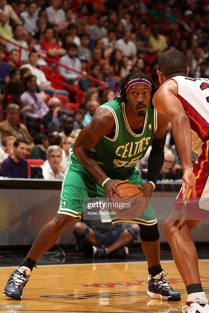 Gerald Wallace #45 of the Boston Celtics controls the ball against against the Miami Heat on November 9, 2013 at American Airlines Arena in Miami, Florida.