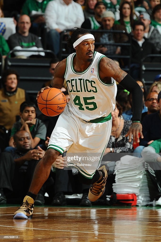 Gerald Wallace #45 of the Boston Celtics drives the ball against the Brooklyn Nets on January 26, 2014 at the TD Garden in Boston, Massachusetts.