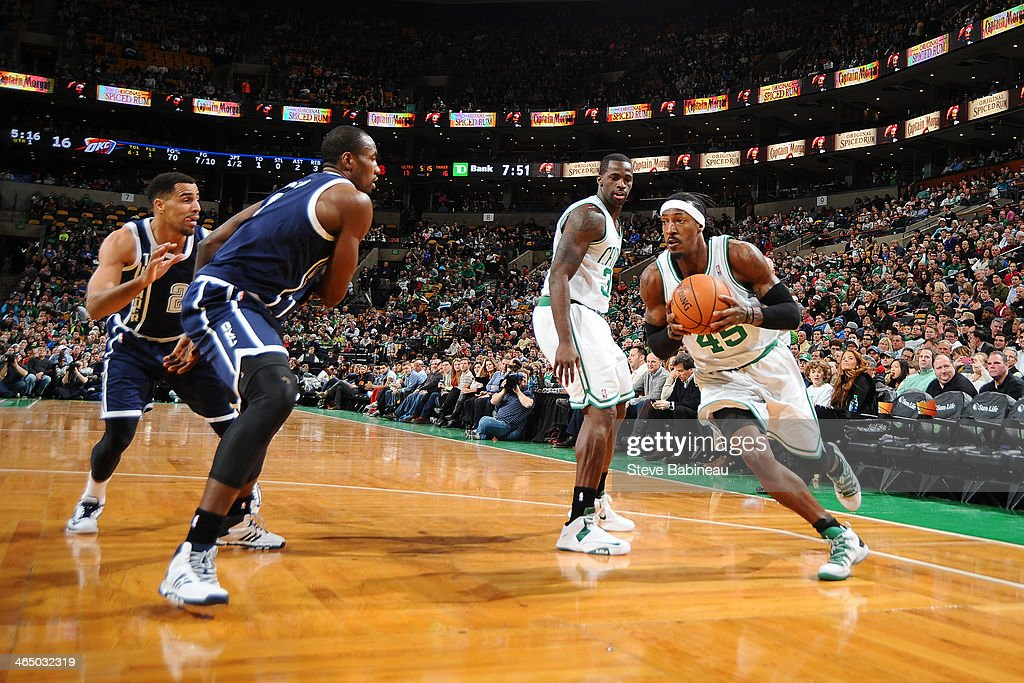 Gerald Wallace #45 of the Boston Celtics drives to the basket against the Oklahoma City Thunder on January 24, 2014 at the TD Garden in Boston, Massachusetts.