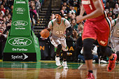 Gerald Wallace of the Boston Celtics drives up the court against the Miami Heatduring the game on February 2 2015 at TD Garden in Boston...