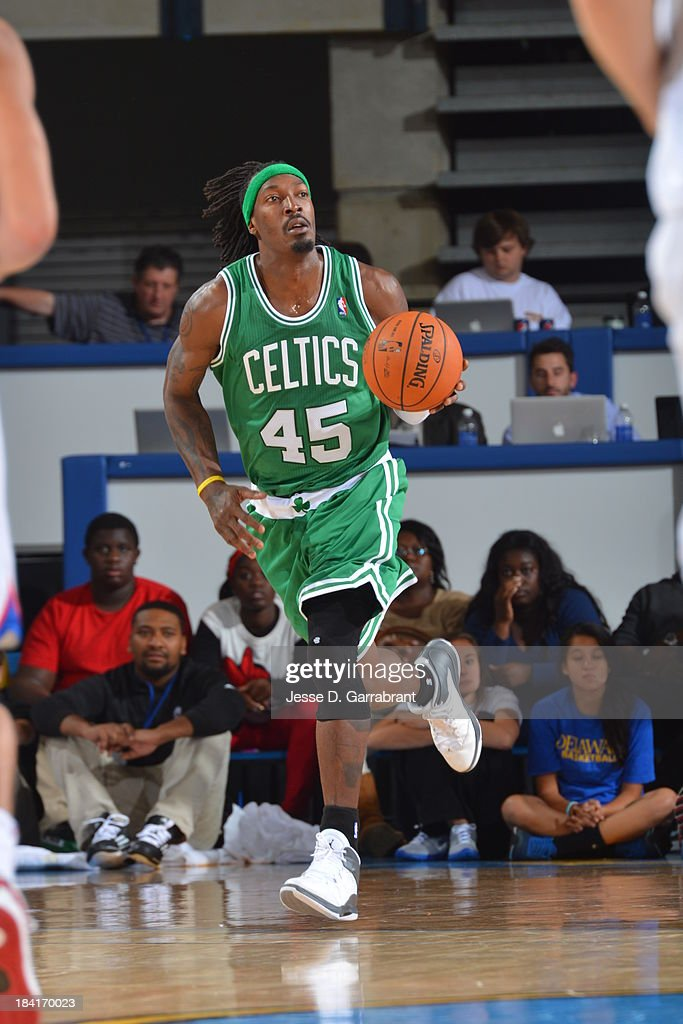 Gerald Wallace #45 of the Boston Celtics drives up-court against the Philadelphia 76ers at the Bob Carpenter Center on October 11, 2013 in Newark, Delaware.