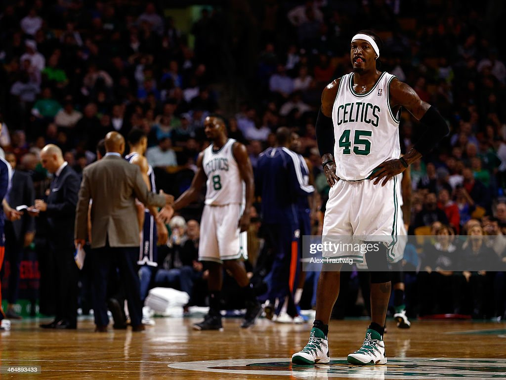 Gerald Wallace #45 of the Boston Celtics looks on against the Oklahoma City Thunder during a game at the TD Garden on January 24, 2014 in Boston, Massachusetts.