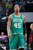 Gerald Wallace of the Boston Celtics looks on during the game against the Charlotte Hornets on March 30 2015 at Time Warner Cable Arena in Charlotte...