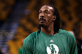Gerald Wallace of the Boston Celtics looks on during warm ups prior to a game against the Toronto Raptors at TD Garden on November 5 2014 in Boston...