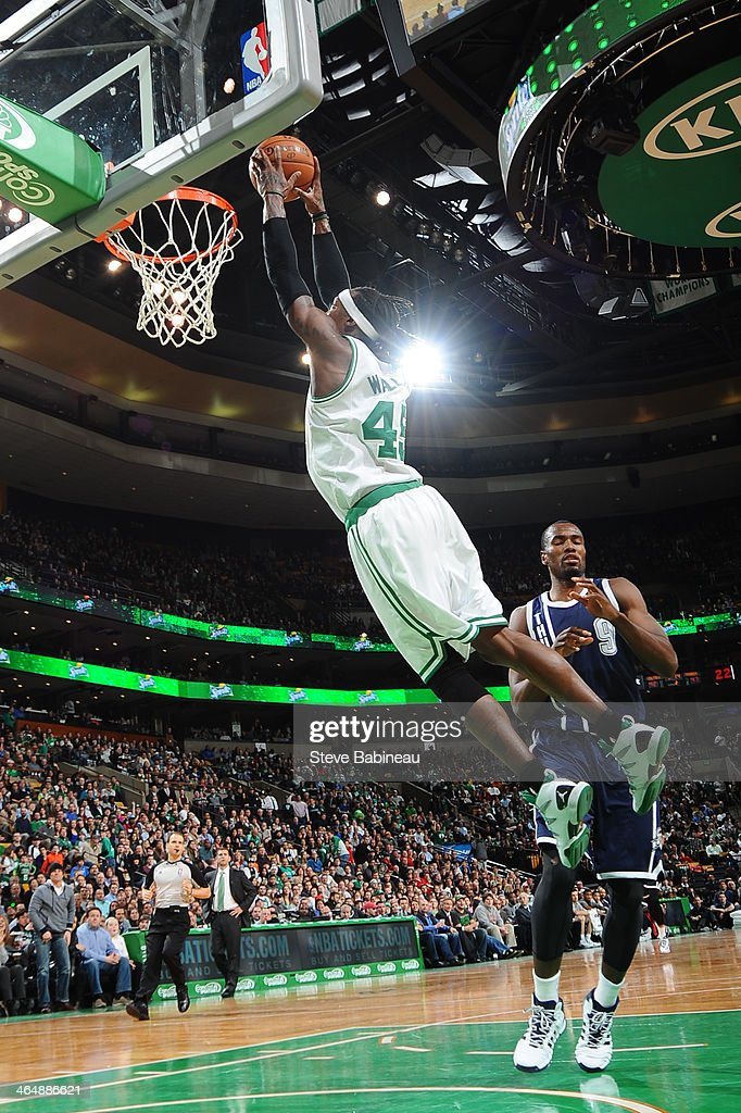 Gerald Wallace #45 of the Boston Celtics of the Boston Celtics dunks the ball against the Oklahoma City Thunder on January 24, 2014 at the TD Garden in Boston, Massachusetts.