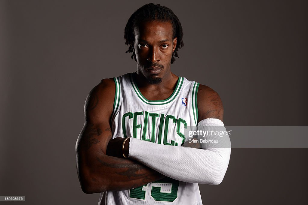 Gerald Wallace #45 of the Boston Celtics poses for a picture during media day at the Boston Sports Club in Waltham, Massachusetts on September 30, 2013.