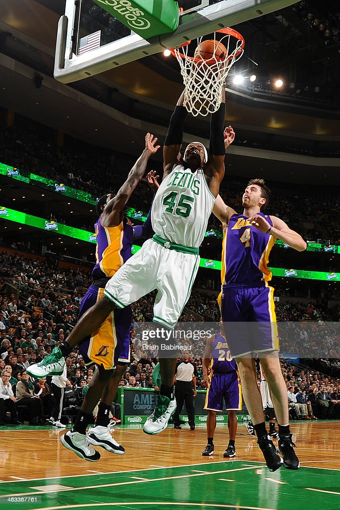 Gerald Wallace #45 of the Boston Celtics puts the ball in the basket against the Los Angeles Lakers on January 17, 2014 at the TD Garden in Boston, Massachusetts.