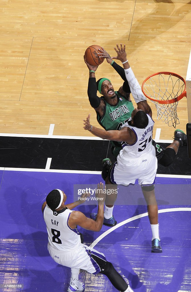 <a gi-track='captionPersonalityLinkClicked' href=/galleries/search?phrase=Gerald+Wallace&family=editorial&specificpeople=202117 ng-click='$event.stopPropagation()'>Gerald Wallace</a> #45 of the Boston Celtics shoots against Jason Thompson #34 of the Sacramento Kings on February 22, 2014 at Sleep Train Arena in Sacramento, California.