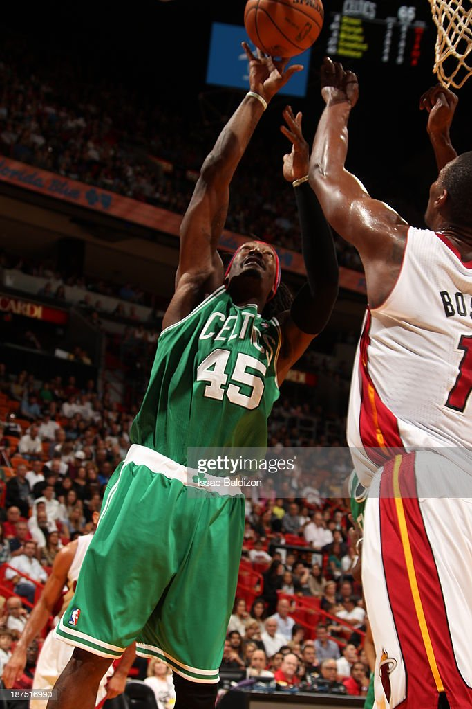 Gerald Wallace #45 of the Boston Celtics shoots against the Miami Heat on November 9, 2013 at American Airlines Arena in Miami, Florida.