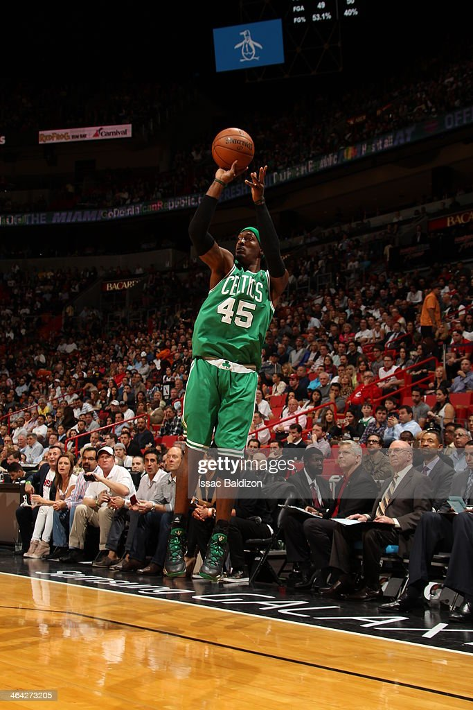 Gerald Wallace #45 of the Boston Celtics taking a shot during a game against the Miami Heat at the American Airlines Arena in Miami, Florida on January 21, 2014.