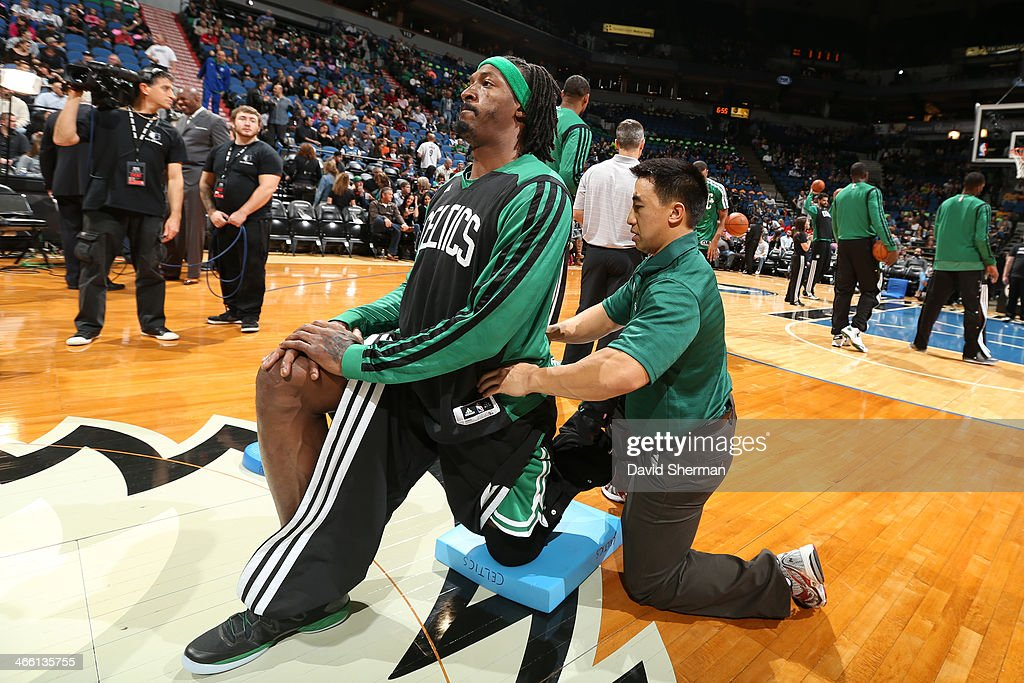 <a gi-track='captionPersonalityLinkClicked' href=/galleries/search?phrase=Gerald+Wallace&family=editorial&specificpeople=202117 ng-click='$event.stopPropagation()'>Gerald Wallace</a> #45 of the Boston Celtics warms up before the game against the Minnesota Timberwolves on November 16, 2013 at Target Center in Minneapolis, Minnesota.