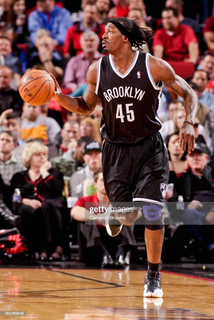 Gerald Wallace #45 of the Brooklyn Nets advances the ball against the Portland Trail Blazers on March 27, 2013 at the Rose Garden Arena in Portland, Oregon.