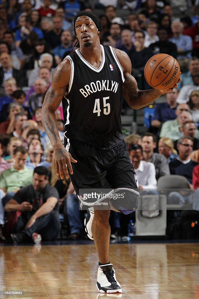Gerald Wallace #45 of the Brooklyn Nets brings the ball up court against the Dallas Mavericks on March 20, 2013 at the American Airlines Center in Dallas, Texas.