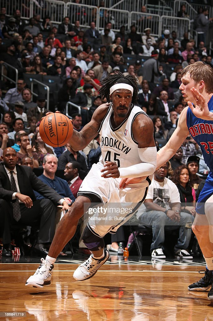 Gerald Wallace #45 of the Brooklyn Nets dribbles against Kyle Singler #25 of the Detroit Pistons on April 17, 2013 at the Barclays Center in the Brooklyn borough of New York City.