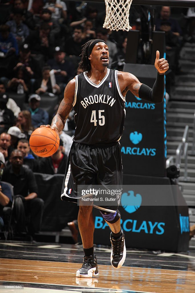 Gerald Wallace #45 of the Brooklyn Nets dribbles against the Los Angeles Clippers on November 23, 2012 at the Barclays Center in the Brooklyn Borough of New York City.