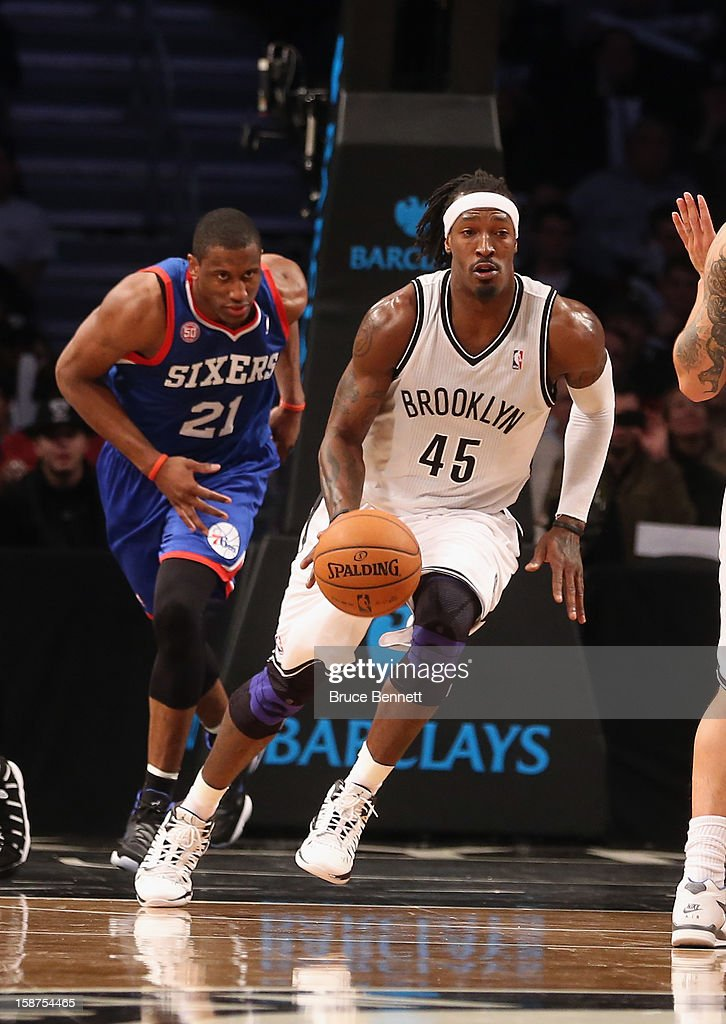 Gerald Wallace #45 of the Brooklyn Nets dribbles the ball against the Philadelphia 76ers at Barclays Center on December 23, 2012 in the Brooklyn borough of New York City.