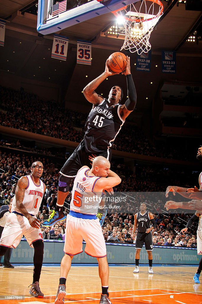 Gerald Wallace #45 of the Brooklyn Nets drives to the basket against Jason Kidd #5 of the New York Knicks on January 21, 2013 at Madison Square Garden in New York City.