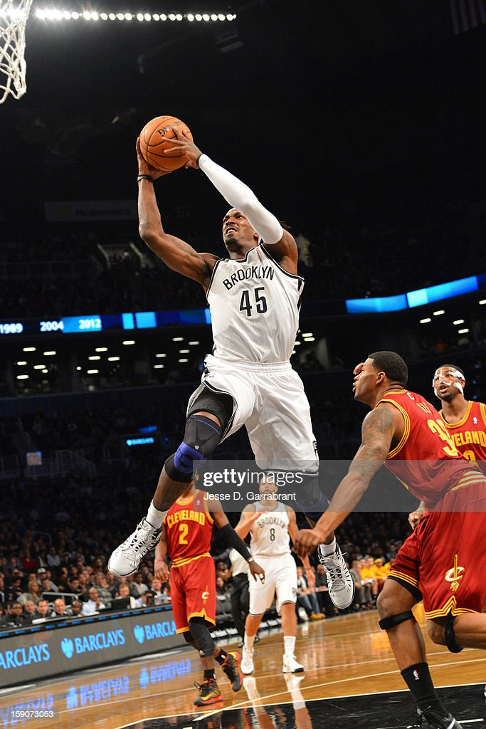 <a gi-track='captionPersonalityLinkClicked' href=/galleries/search?phrase=Gerald+Wallace&family=editorial&specificpeople=202117 ng-click='$event.stopPropagation()'>Gerald Wallace</a> #45 of the Brooklyn Nets drives to the basket against the Cleveland Cavaliers at the Barclays Center on December 29, 2012 in Brooklyn, New York.
