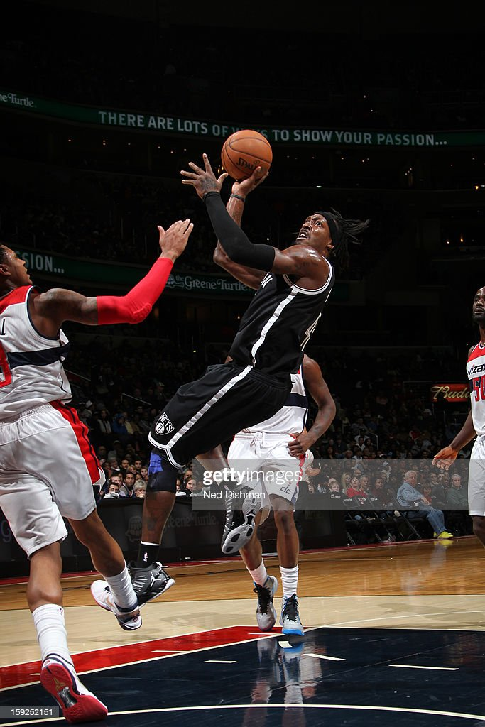 Gerald Wallace #45 of the Brooklyn Nets drives to the basket against the Washington Wizards on January 4, 2013 at the Verizon Center in Washington, DC.