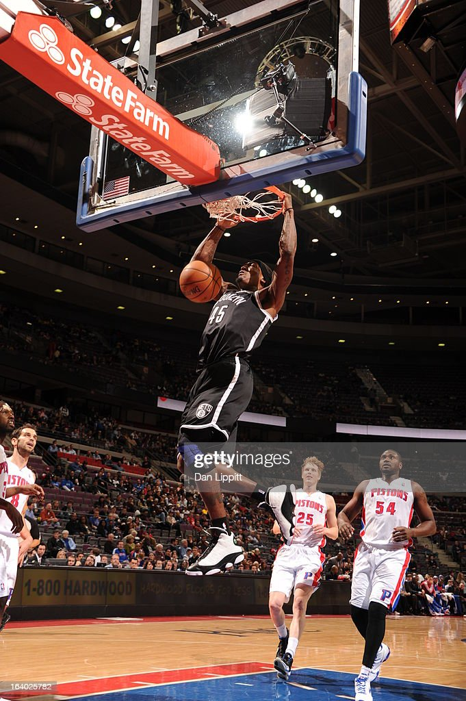 Gerald Wallace #45 of the Brooklyn Nets dunks against the Detroit Pistons on March 18, 2013 at The Palace of Auburn Hills in Auburn Hills, Michigan.