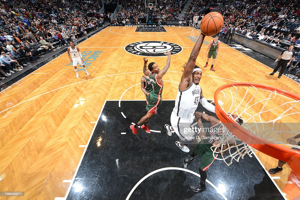 Gerald Wallace #45 of the Brooklyn Nets dunks against the Milwaukee Bucks during the game at the Barclays Center on December 9, 2012 in Brooklyn, New York.