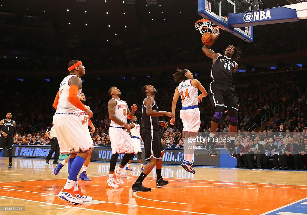Gerald Wallace #45 of the Brooklyn Nets dunks against the New York Knicks during their game at Madison Square Garden on December 19, 2012 in New York City.