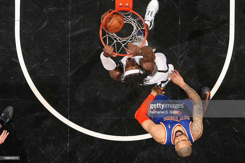 Gerald Wallace #45 of the Brooklyn Nets dunks the ball against the New York Knicks on December 11, 2012 at the Barclays Center in the Brooklyn borough of New York City.
