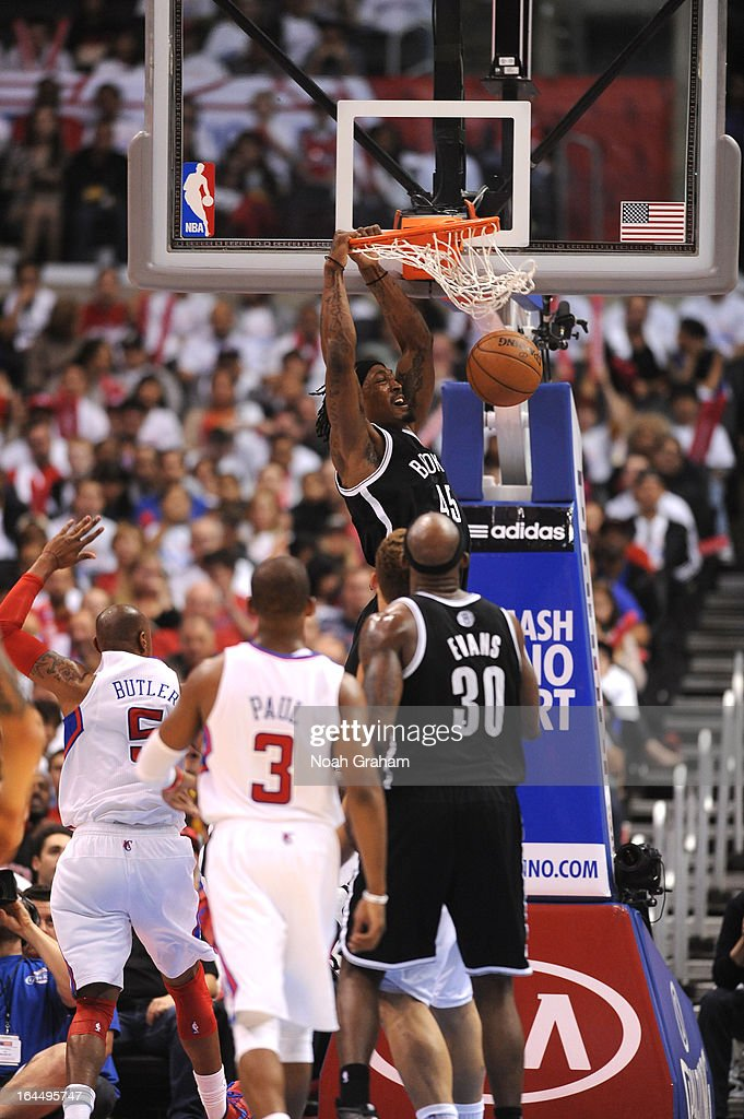 Gerald Wallace #45 of the Brooklyn Nets dunks the ball during the game between the Los Angeles Clippers and the Brooklyn Nets at Staples Center on March 23, 2013 in Los Angeles, California.