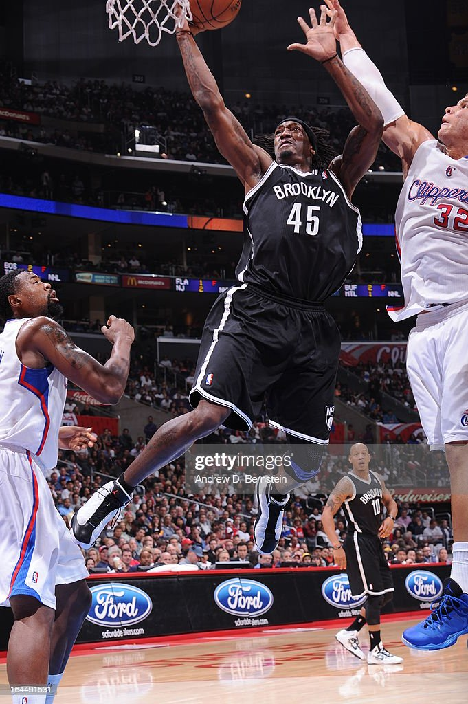 Gerald Wallace #45 of the Brooklyn Nets goes to the basket during the game between the Los Angeles Clippers and the Brooklyn Nets at Staples Center on March 23, 2013 in Los Angeles, California.