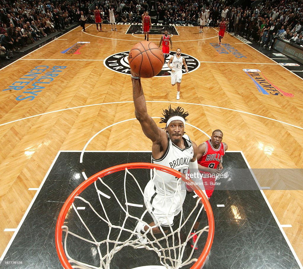 Gerald Wallace #45 of the Brooklyn Nets goes up for a dunk while playing against the Chicago Bulls in Game Five of the Eastern Conference Quarterfinals during the 2013 NBA Playoffs on April 29 at the Barclays Center in the Brooklyn borough of New York City.