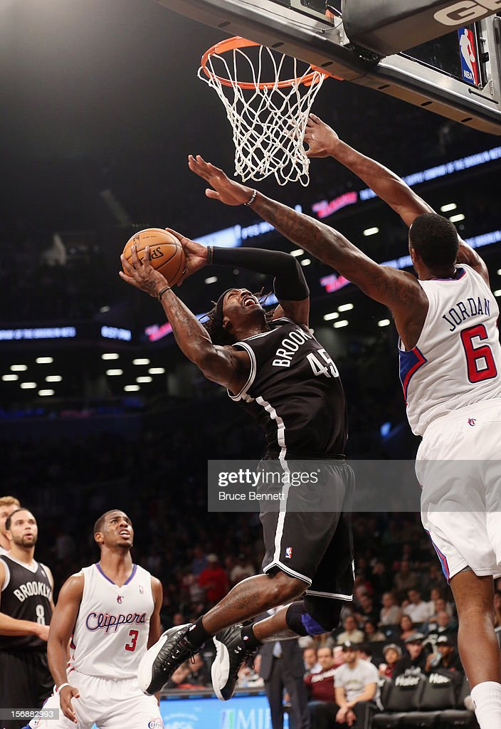 Gerald Wallace #45 of the Brooklyn Nets goes up for a shot against the Los Angeles Clippers at the Barclays Center on November 23, 2012 in the Brooklyn borough of New York City.