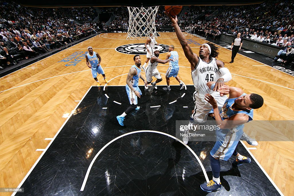 Gerald Wallace #45 of the Brooklyn Nets goes up for the easy layup against the Denver Nuggets at the Barclays Center on February 13, 2013 in the Brooklyn borough of New York City in New York City.