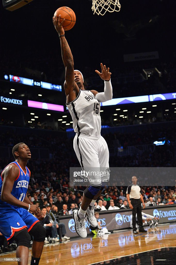 Gerald Wallace #45 of the Brooklyn Nets goes up for the layup against the Philadelphia 76ers during the game at the Barclays Center on December 23, 2012 in Brooklyn, New York.