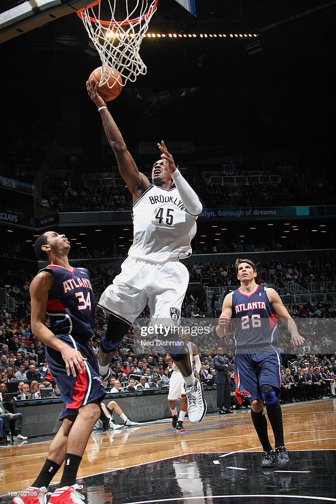 Gerald Wallace #45 of the Brooklyn Nets goes up for the layup against the Atlanta Hawks at the Barclays Center on January 18, 2013 in the Brooklyn borough of New York City in New York City.