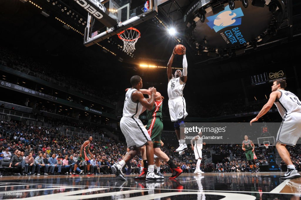 Gerald Wallace #45 of the Brooklyn Nets grabs a rebound against the Milwaukee Bucks during the game at the Barclays Center on December 9, 2012 in Brooklyn, New York.