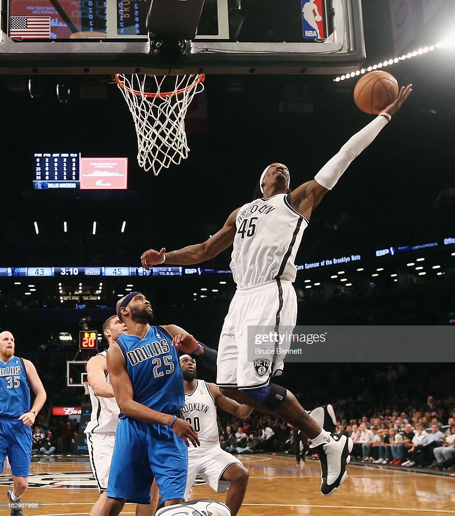 Gerald Wallace #45 of the Brooklyn Nets grabs the rebound against the Dallas Mavericks at the Barclays Center on March 1, 2013 in New York City.